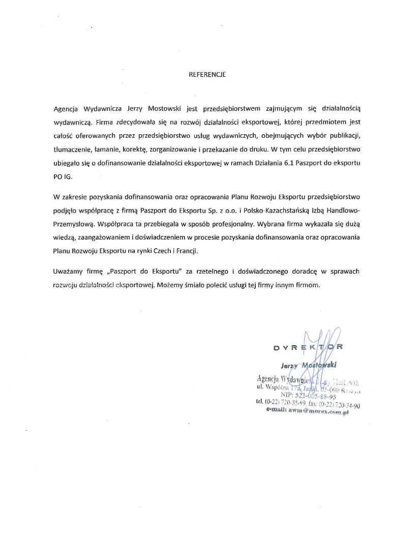 Agencja Wydawnicza Jerzy Mostowski 1 Referencje