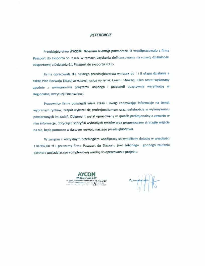 Aycom 1 Referencje