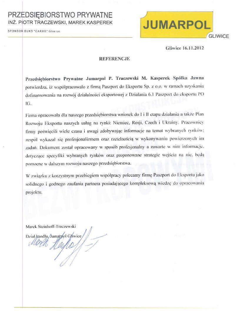 Jumarpol 1 Referencje