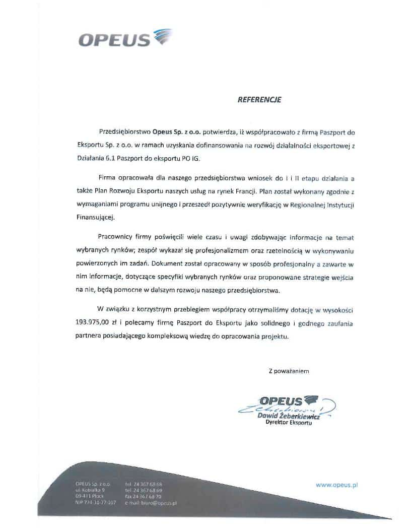 Opeus 1 Referencje