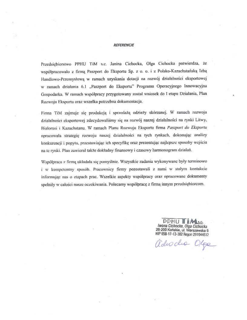 PPHU TiM 1 Referencje