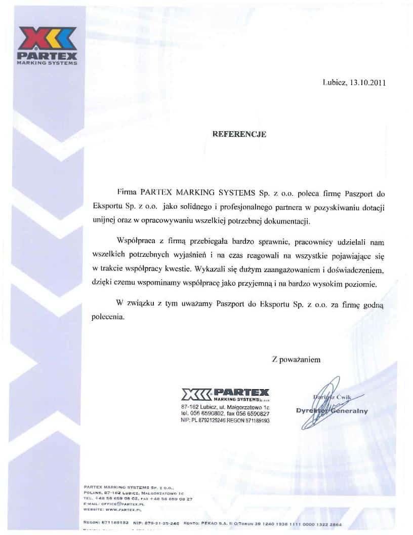 Partex 1 Referencje
