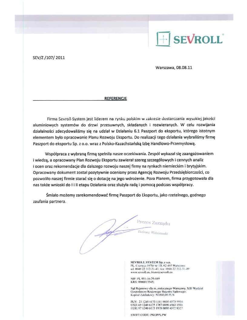 Sevroll System 1 Referencje