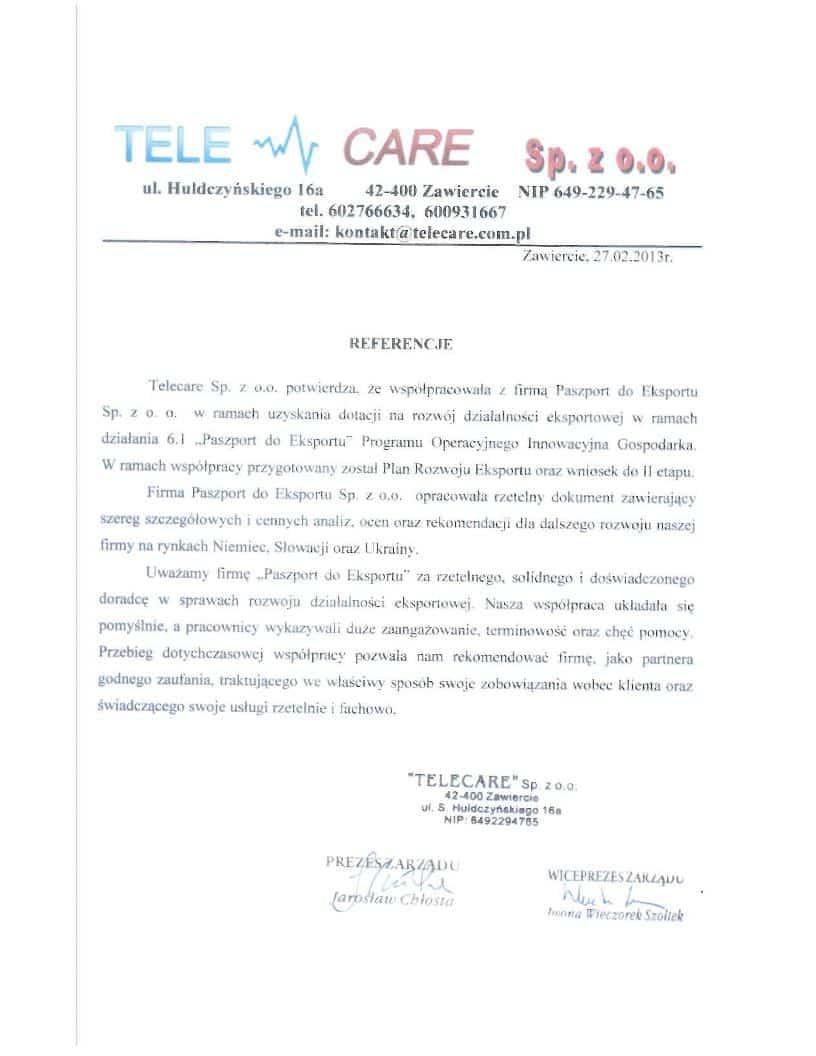 Telecare 1 Referencje