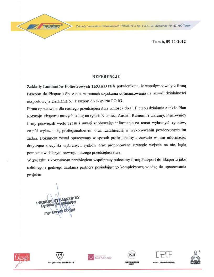 Trokotex 1 Referencje