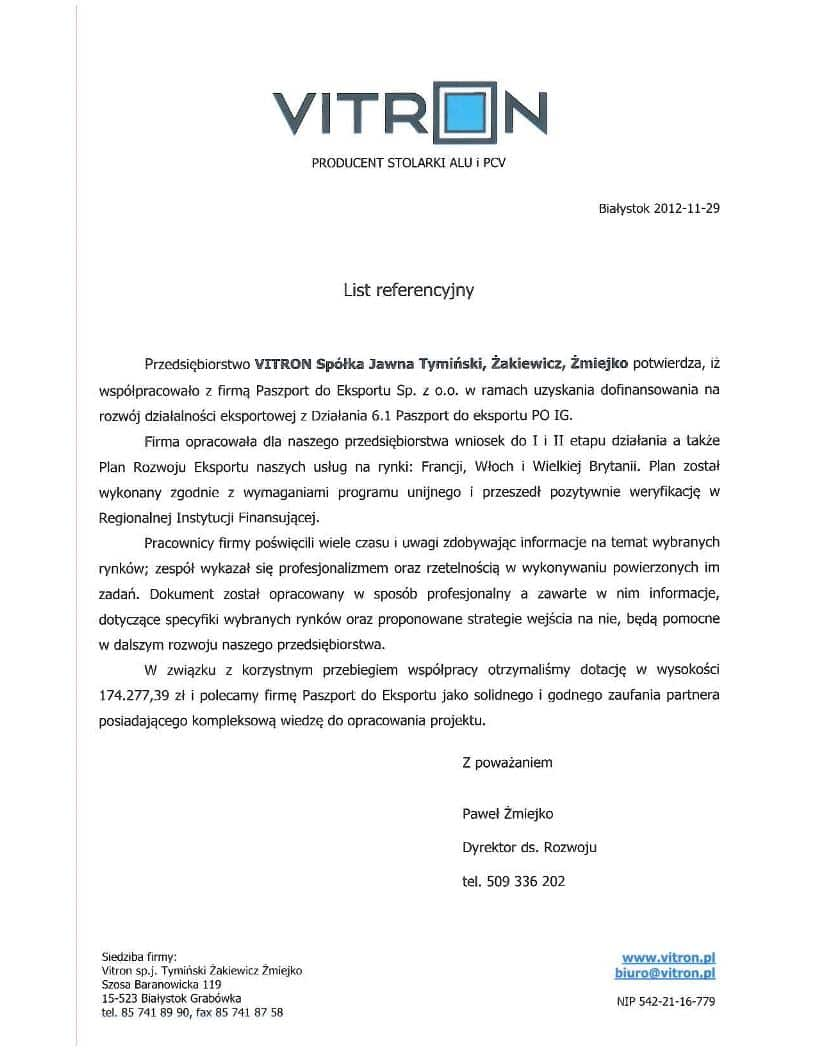 Vitron 1 Referencje
