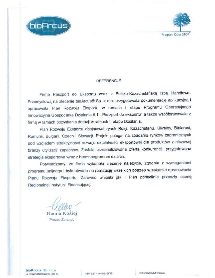 bioArcus 1 Referencje