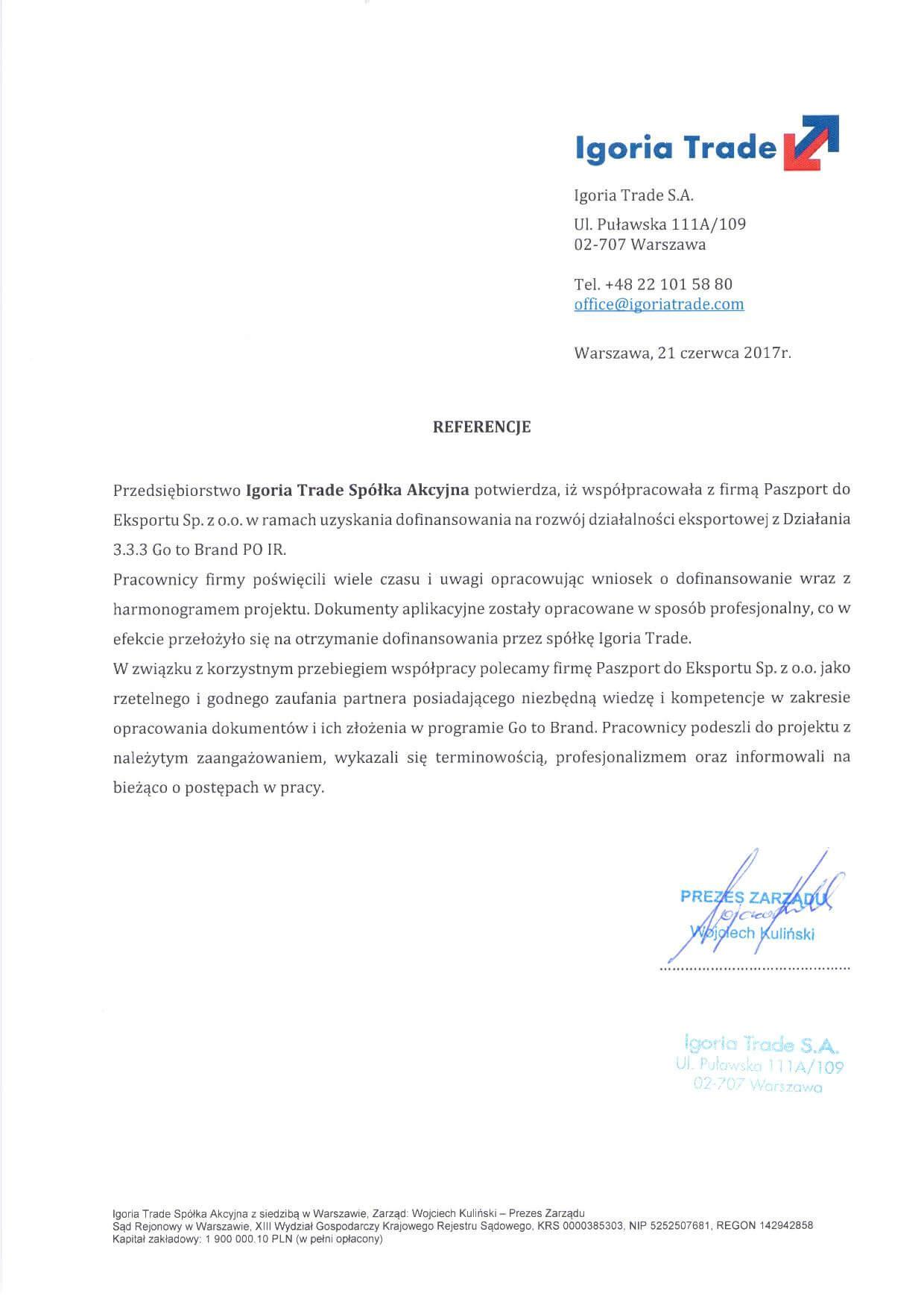 Referencje Igoria TradeJPEG Referencje