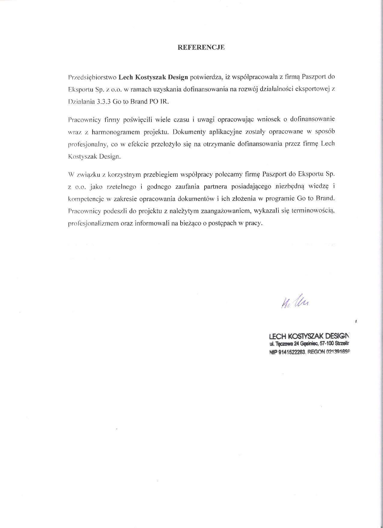 Referencje Lech KostyszakJPEG Referencje